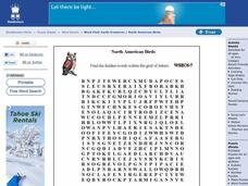 North American Birds Word Search Worksheet