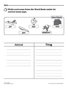 Noun Classification Worksheet