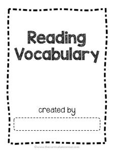 Academic Reading Vocabulary Printables & Template