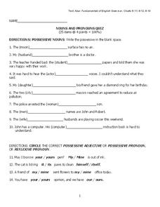 Nouns and Pronouns Quiz Worksheet
