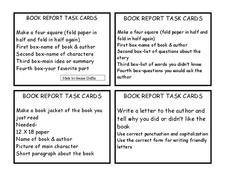 Book Report Task Cards Printables & Template