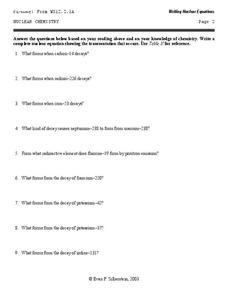 Nuclear Chemistry Worksheet