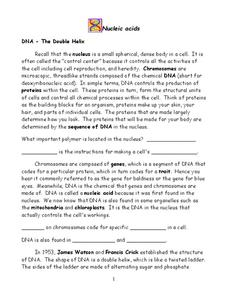 Nucleic Acids Worksheet for 6th - 10th Grade | Lesson Planet