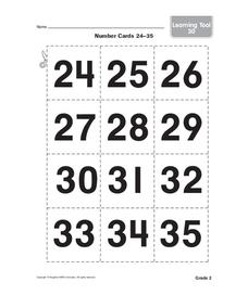 Number Cards Worksheet