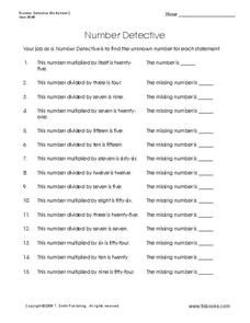 Number Detective Worksheet