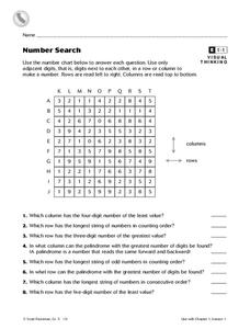 Number Search Worksheet