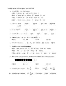 Number Sense and Operations Worksheet