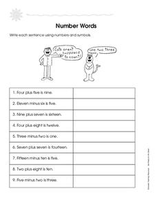 Number Words Worksheet