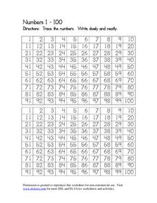 Numbers 1-100 Worksheet for 1st - 3rd Grade   Lesson Planet