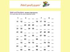 Numbers Table Exercise Worksheet