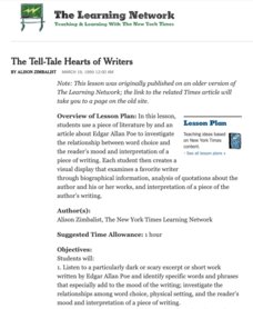 The Tell-Tale Hearts of Writers Lesson Plan