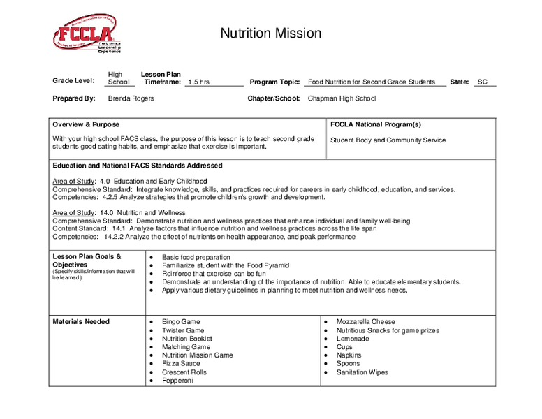 Nutrition Mission Lesson Plan For 9th Higher Ed Lesson Planet
