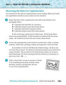 Observing the Rules for Capitalization Worksheet