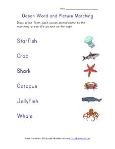 Ocean Word and Picture Matching Worksheet