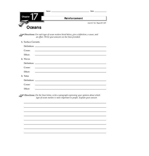 Oceans Worksheet For 5th 8th Grade Lesson Planet