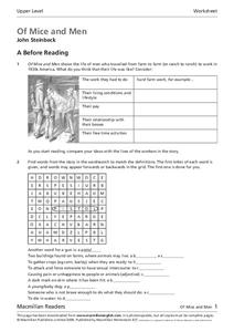 Of Mice and Men by John Steinbeck Worksheet