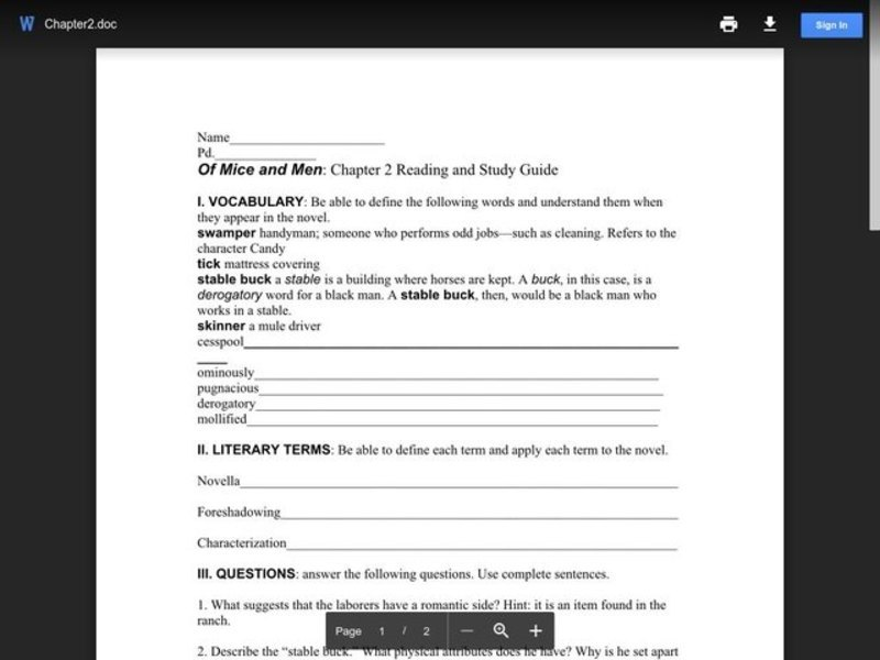 Of Mice and Men: Chapter 2 Reading and Study Guide  Worksheet