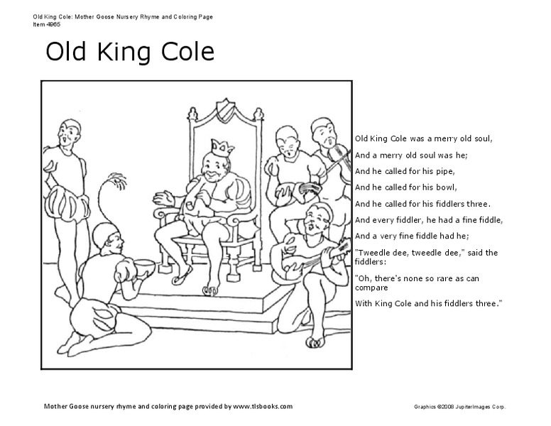Cole Coloring Pictures : Old king cole kindergarten 2nd grade worksheet lesson planet