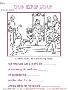 Old king cole worksheet for kindergarten 1st grade for Old king cole coloring page