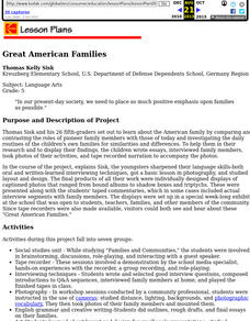 Great American Families Lesson Plan