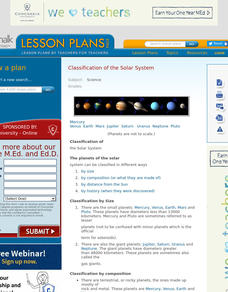 Classification of the Solar System Lesson Plan