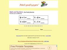 One Family Exercise Worksheet
