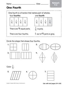 One Fourth Worksheet
