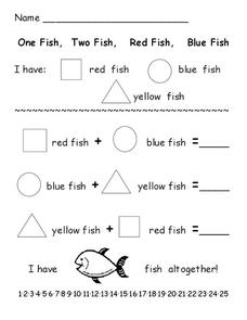 photograph regarding One Fish Two Fish Printable named 1 Fish 2 Fish Crimson Fish Blue Fish Lesson Ideas Worksheets