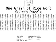 One Grain of Rice Worksheet