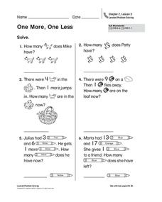One More, One Less Worksheet
