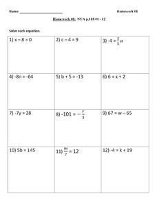 One Step Equations Worksheet for 9th Grade   Lesson Planet