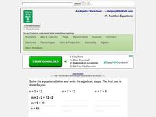 One Step Equations Worksheet