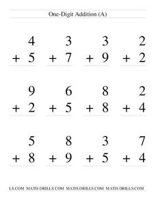 One-Digit Addition; With Regrouping (A) Worksheet