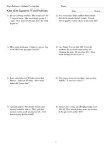 One-Step Equation Word Problems Worksheet