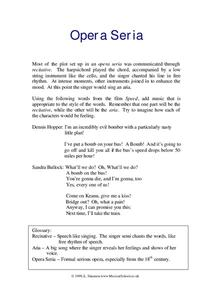 Opera seria Worksheet