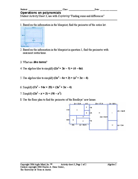 Operations On Polynomials Worksheet For 9th Grade Lesson Planet