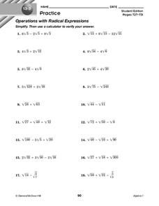 Operations with Radical Expressions Worksheet