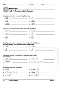 Operations with Radicals Worksheet