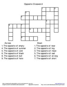 Opposites Crossword Worksheet