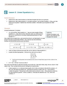 Linear Equations in x Lesson Plan