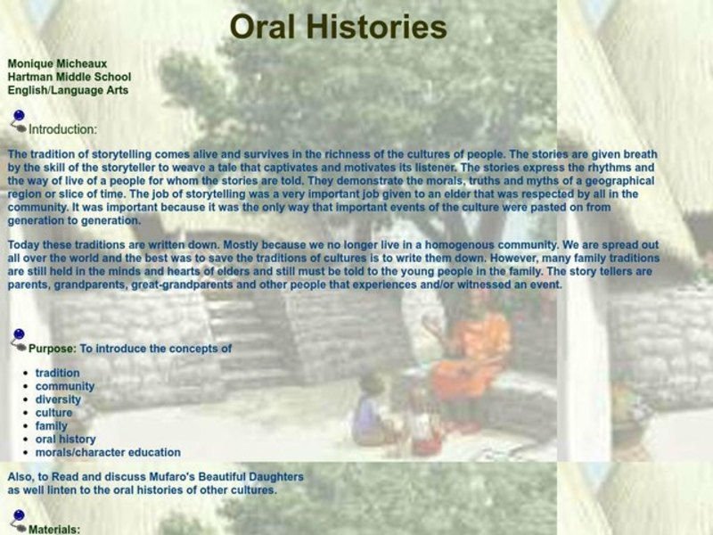 Oral Histories Lesson Plan
