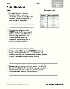 Order Numbers Worksheet