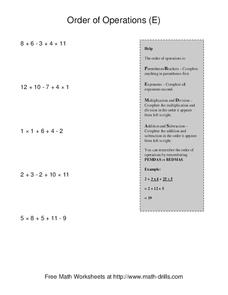 Order of Operations (E) Worksheet