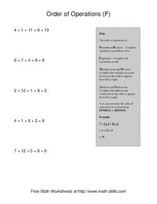 Order Of Operations (F) Worksheet