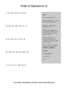 Order Of Operations (I) Worksheet