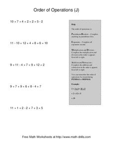 Order of Operations (J) Worksheet