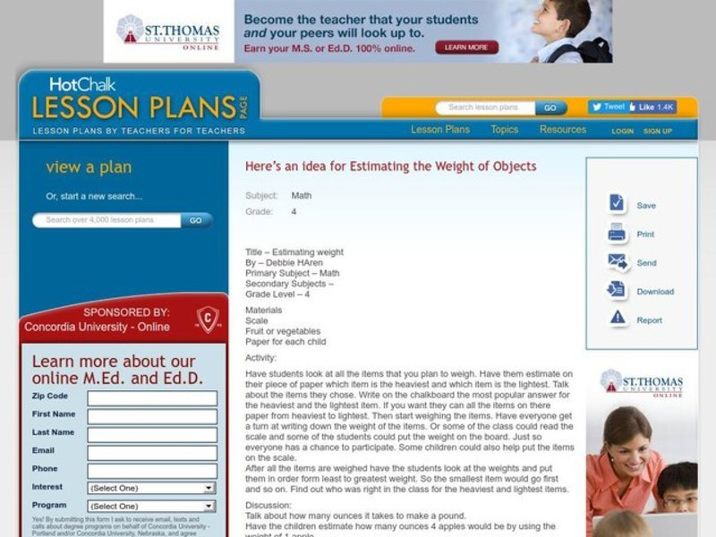 Estimating weight Lesson Plan
