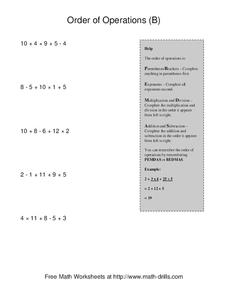 Order of Operations B Worksheet