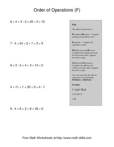Order of Operations F Worksheet