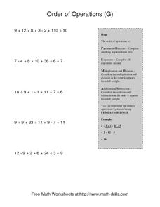 Order of Operations G Worksheet